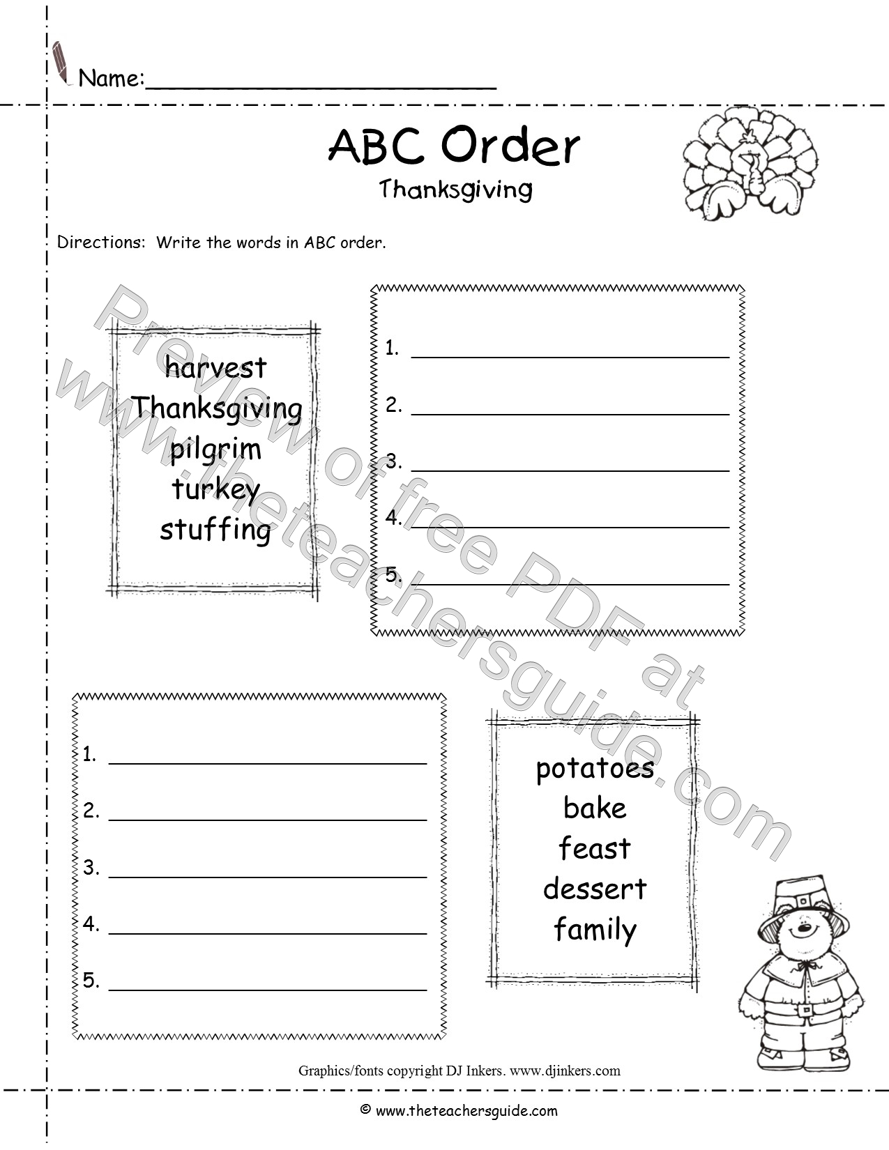 Blank Abc Order Template Worksheets