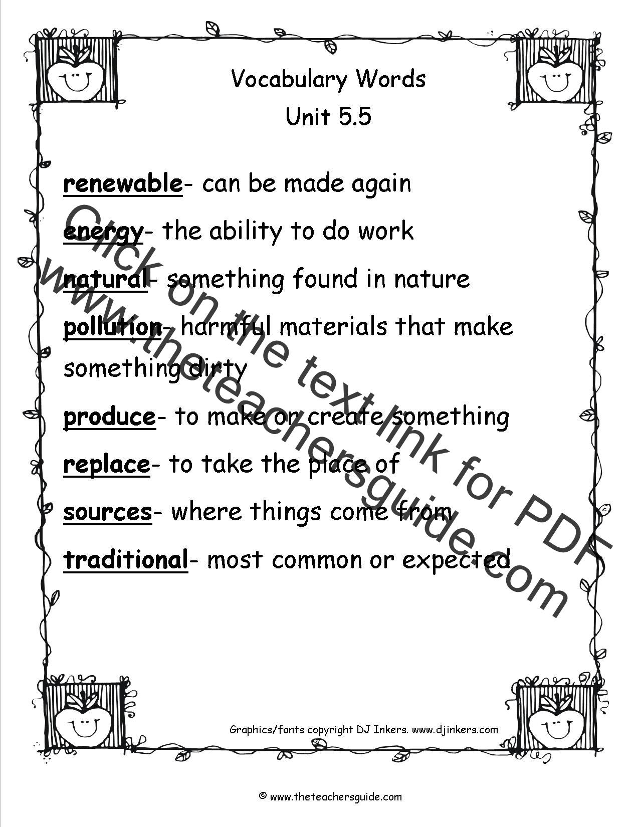Wonders Third Grade Unit Five Week Five Printouts