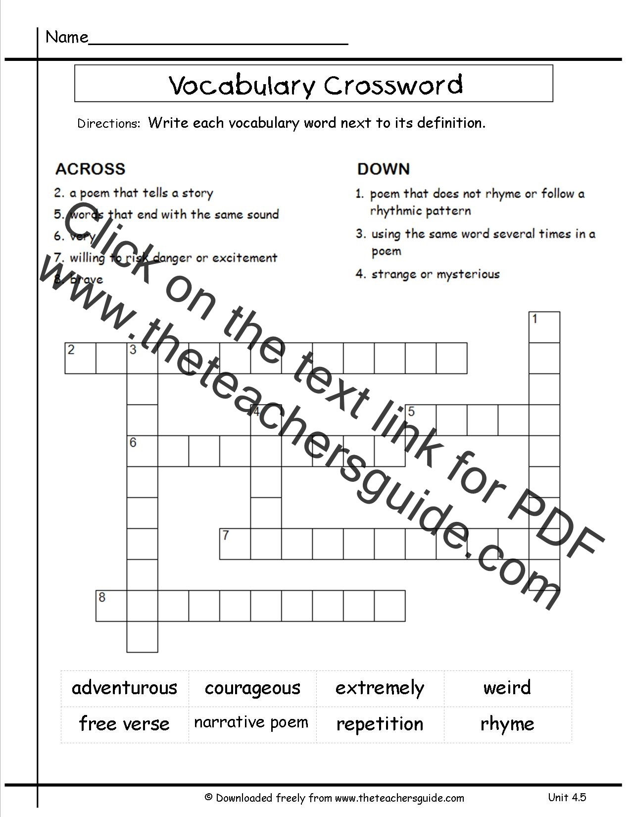 6th Grade Math Vocabulary Crossword Puzzles