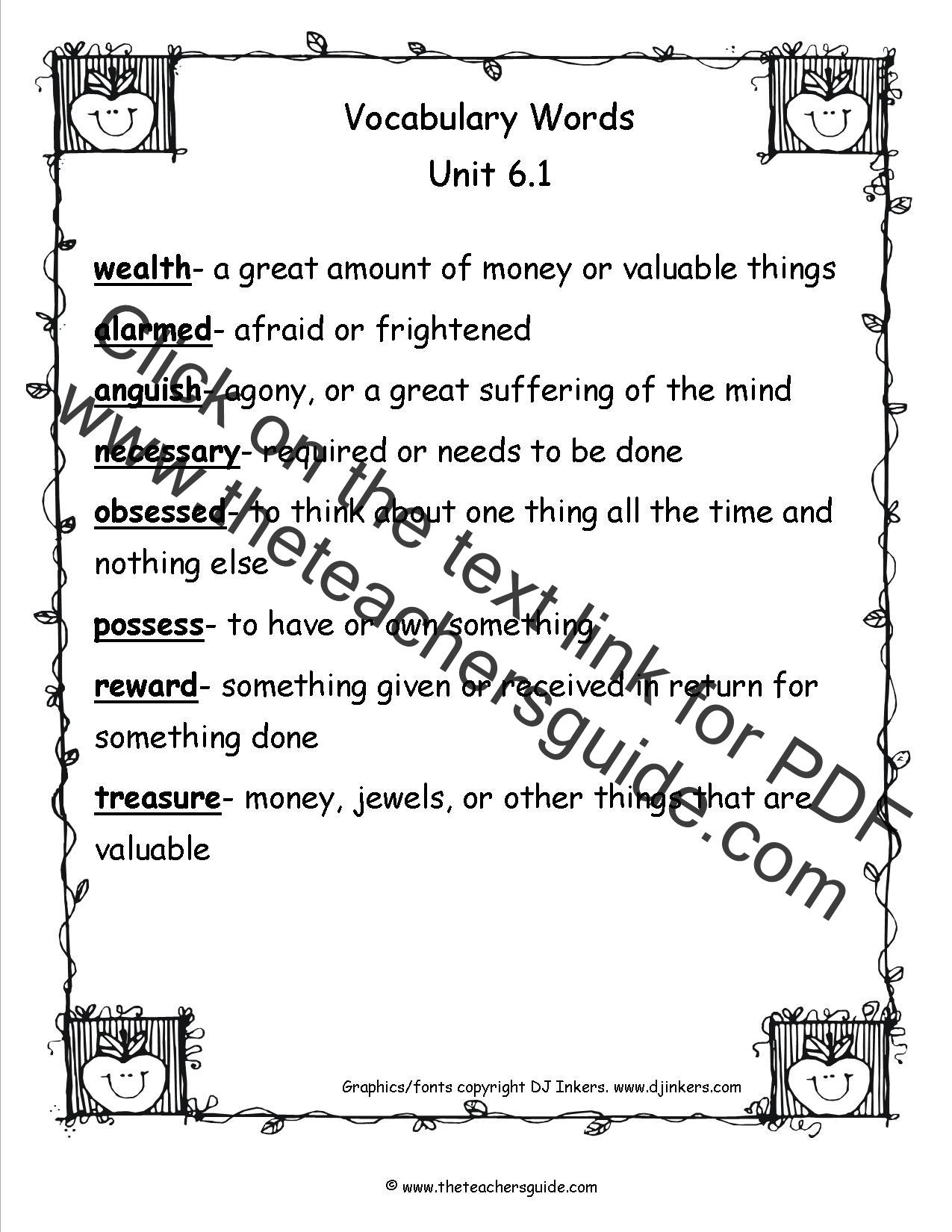 Wonders Third Grade Unit Six Week One Printouts