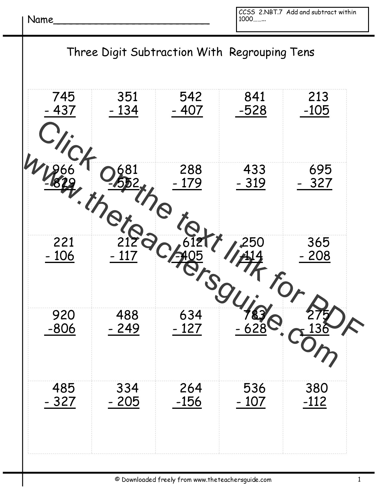 Three Digit Subtraction Worksheets From The Teacher S Guide