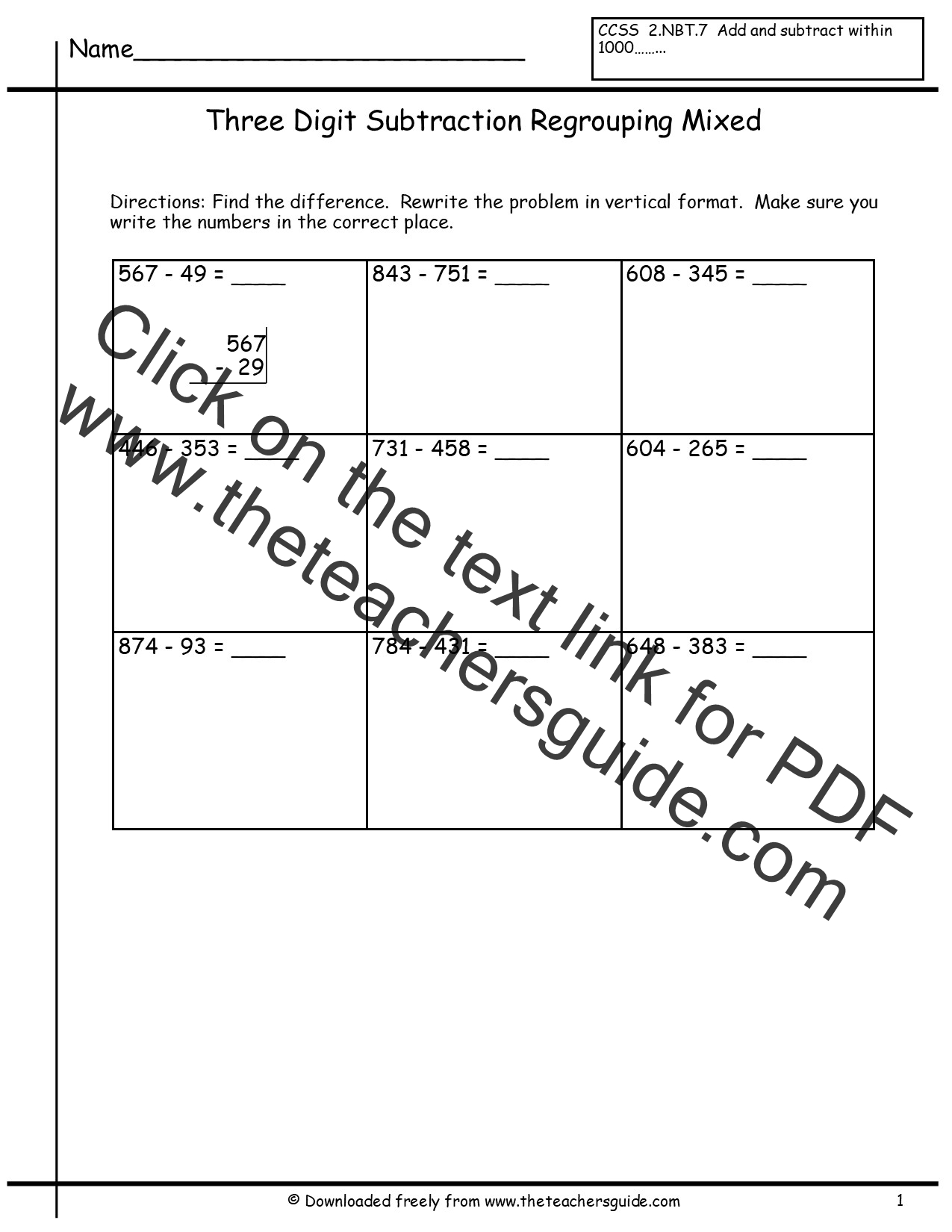 Search Results For Regrouping Tens 3 Digit Subtraction Worksheet Calendar