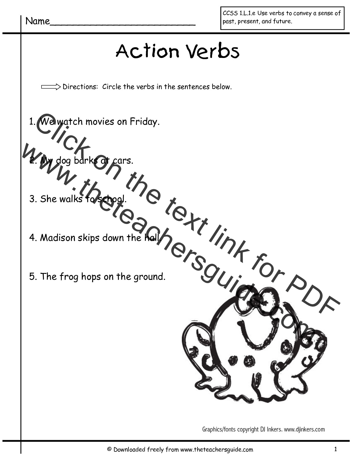 Verbsfirstgrade1 001 001 With Images