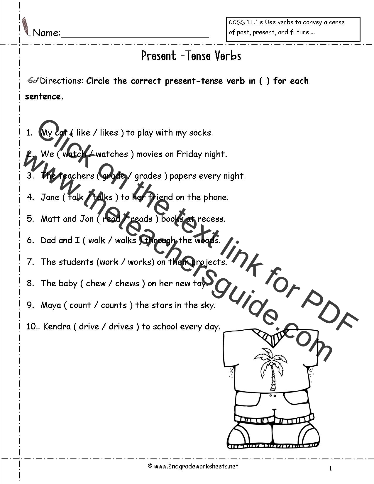 Past Tense Verb Worksheet First Grade