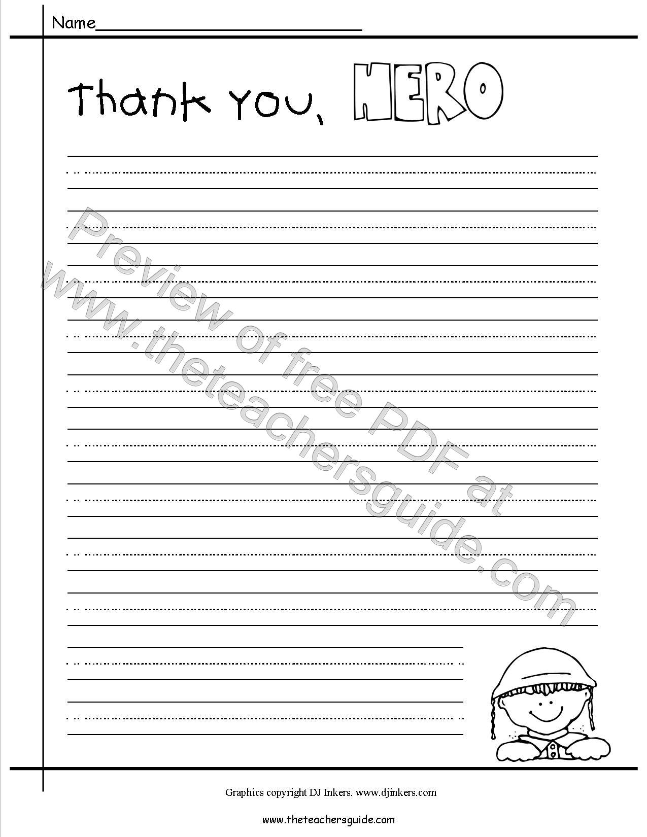 Letter Writing Paper First Grade