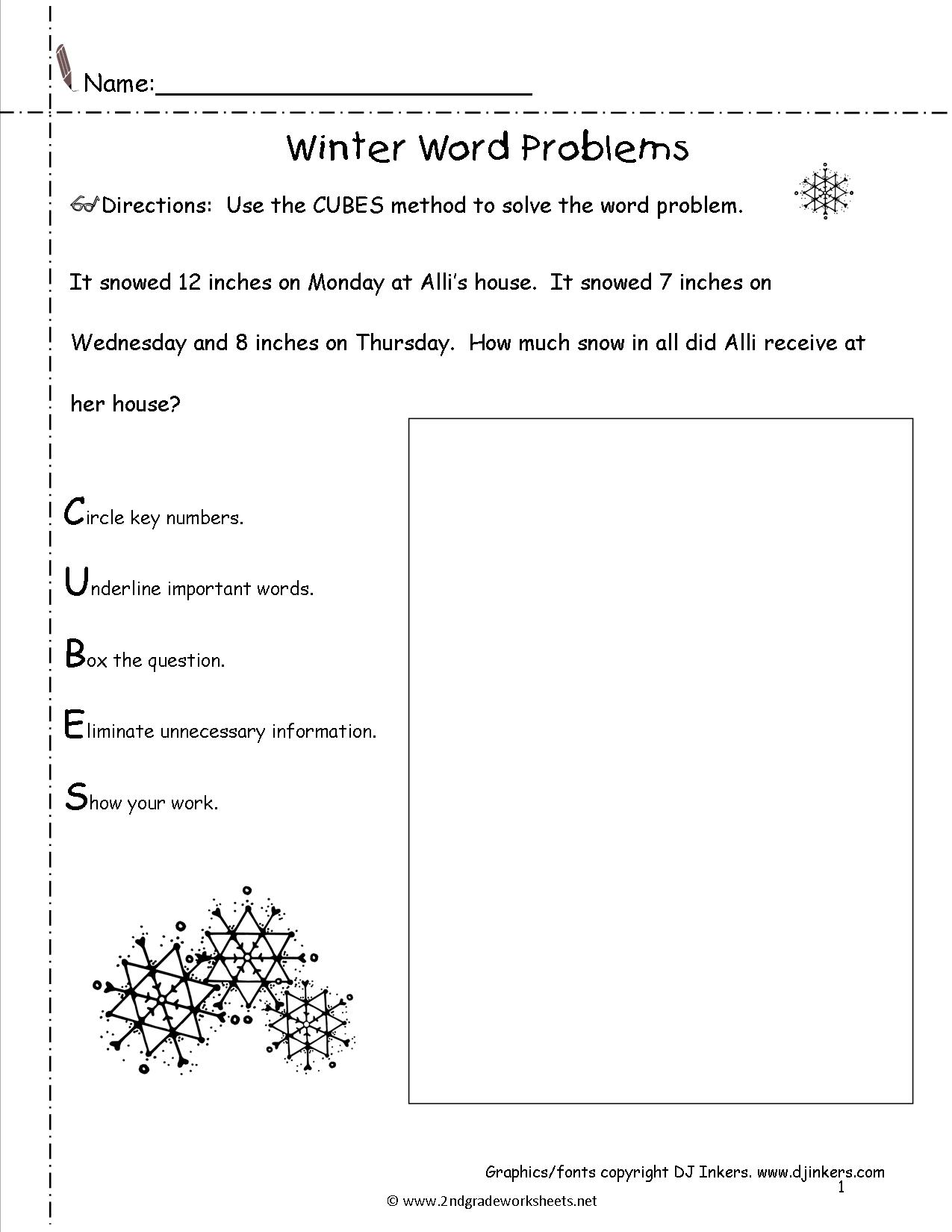 Winter Worksheet For Middle School