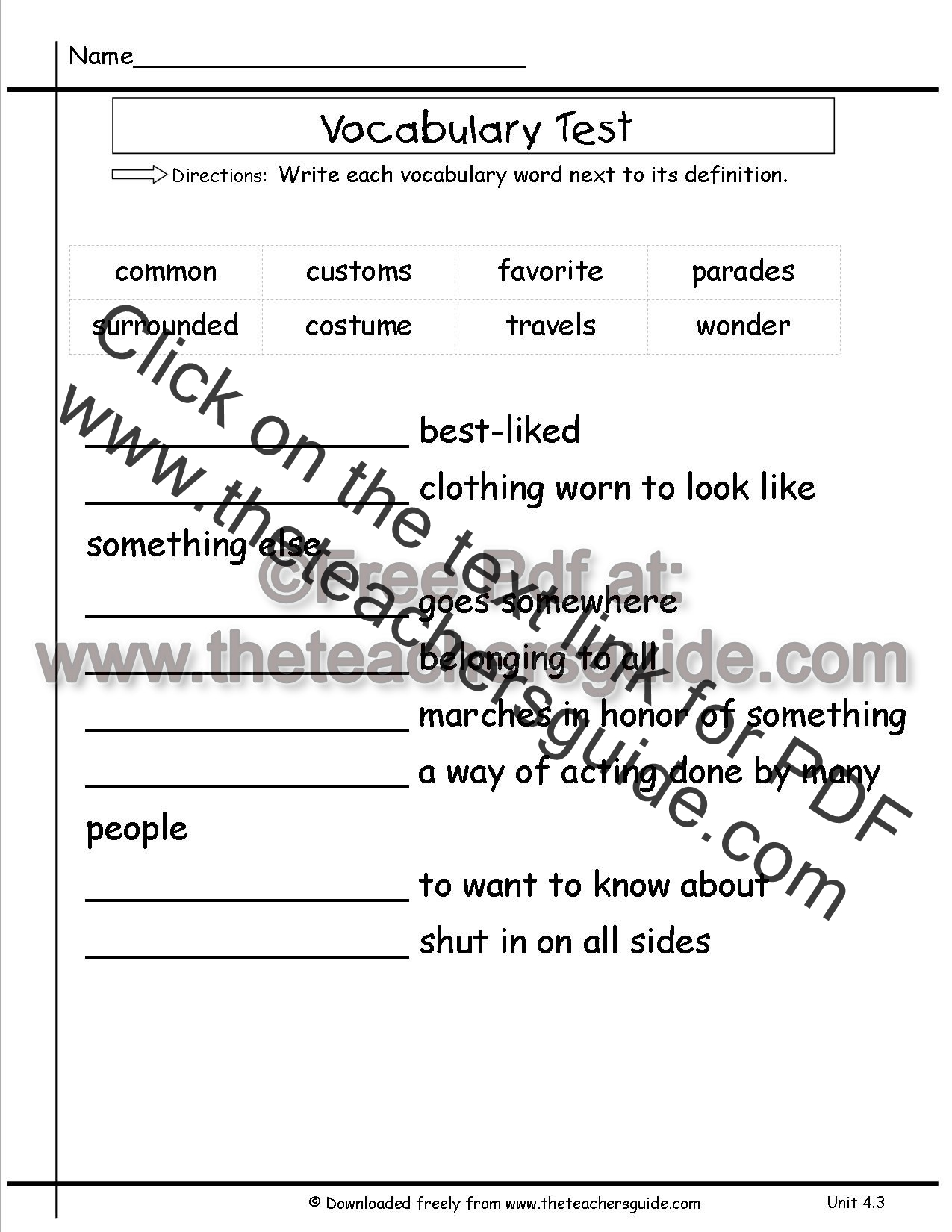 Matching Vocabulary Quiz Template