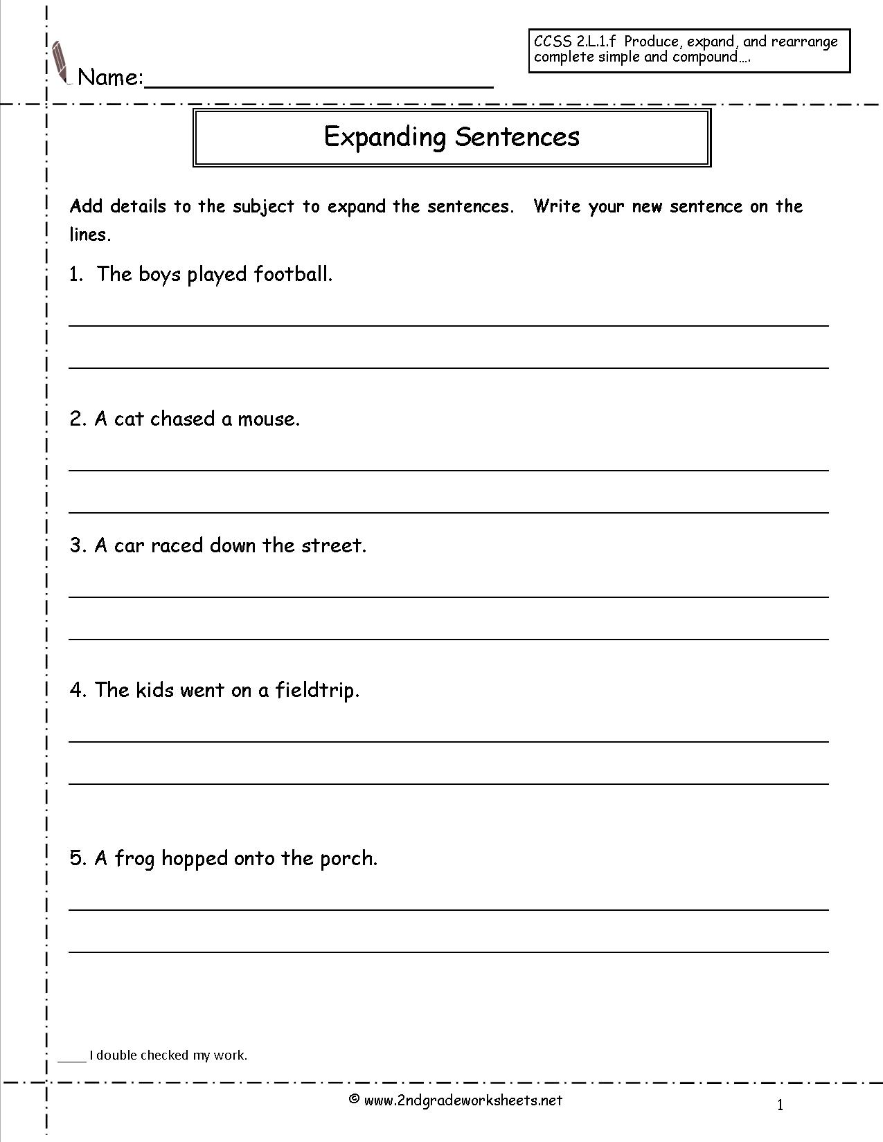 Worksheet Writing Complete Sentences Worksheets Grass