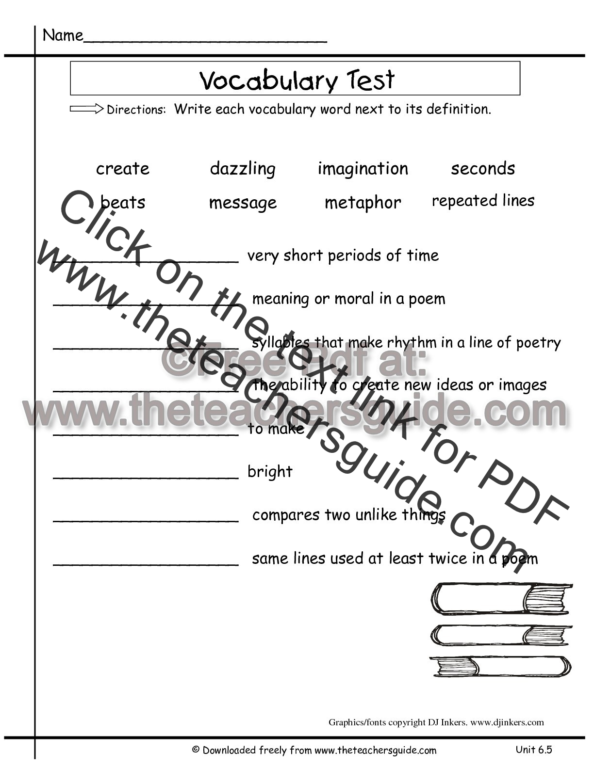 Second Grade Vocabulary Test Practice Worksheet Word
