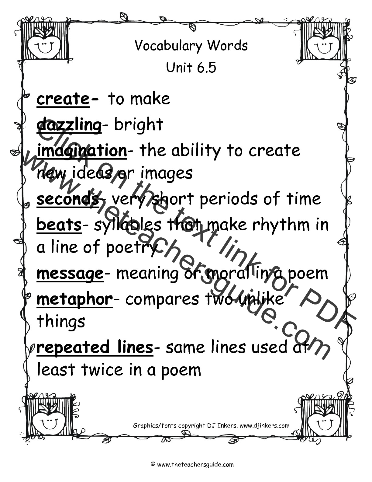 Printables Of Vocabulary Words For Second Graders