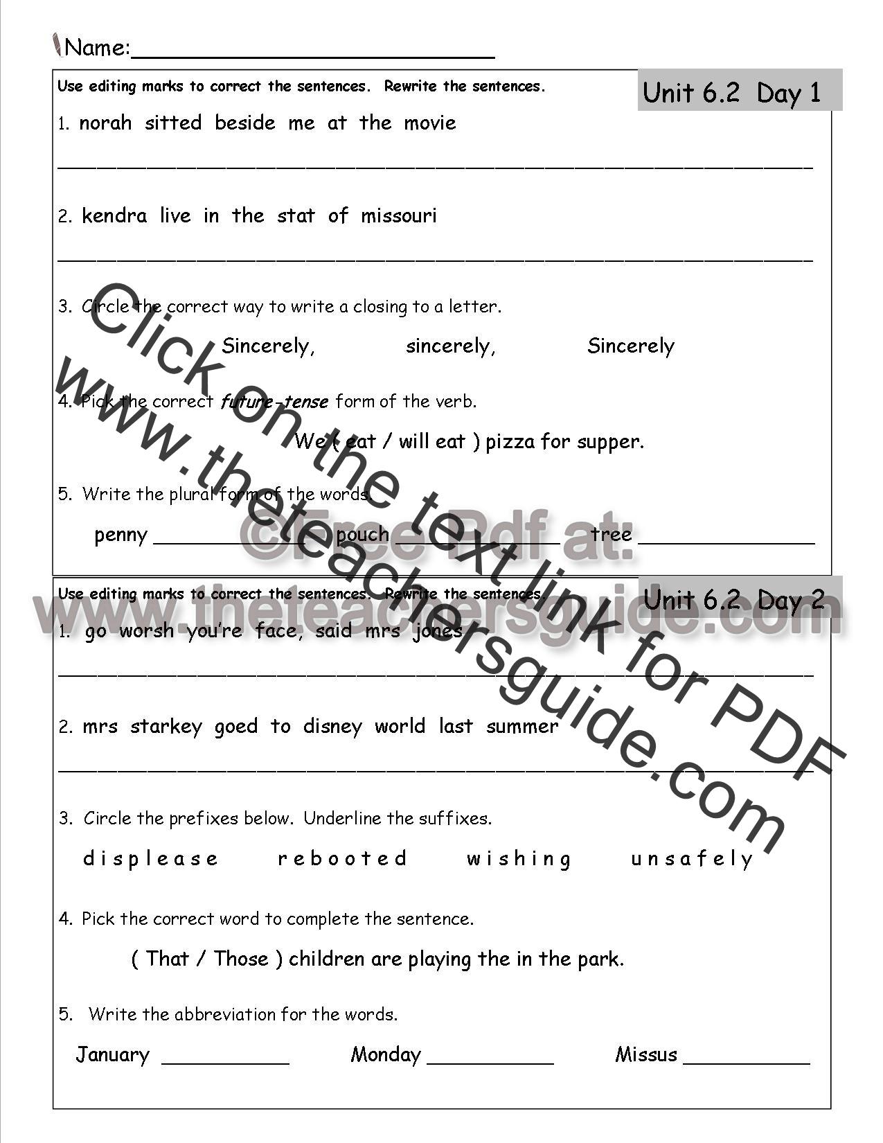 Wonders Second Grade Unit Six Week Two Printouts