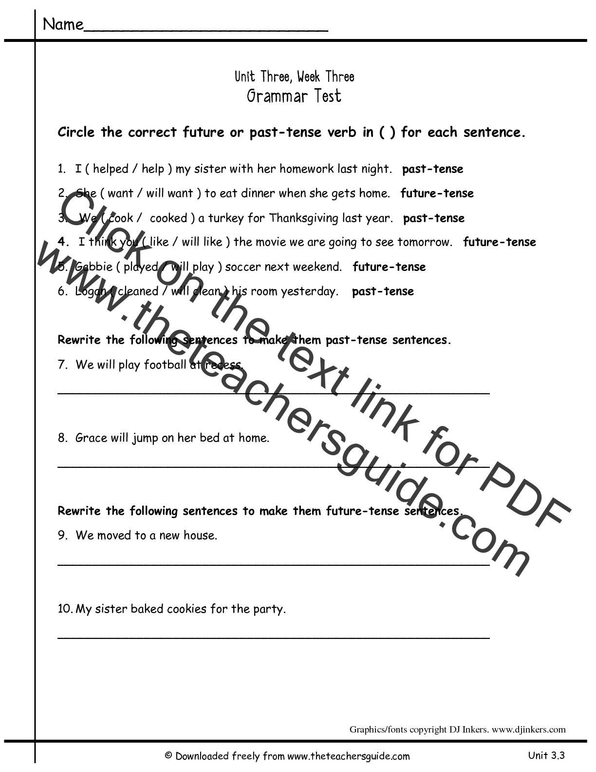 Past Present Future Tense Worksheet 1st Grade
