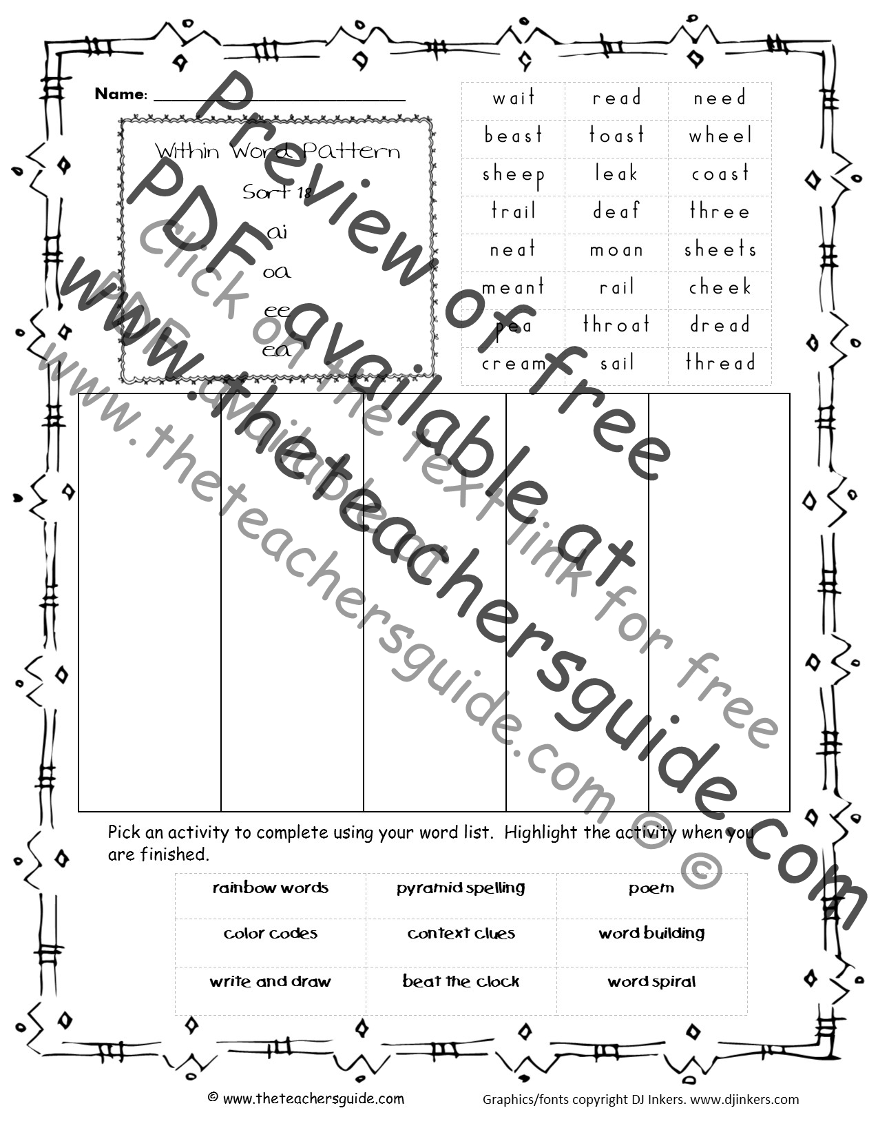 Words Their Way Within Word Patterns Worksheets