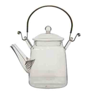 300ml glass teapot with coil and wire handle 021878