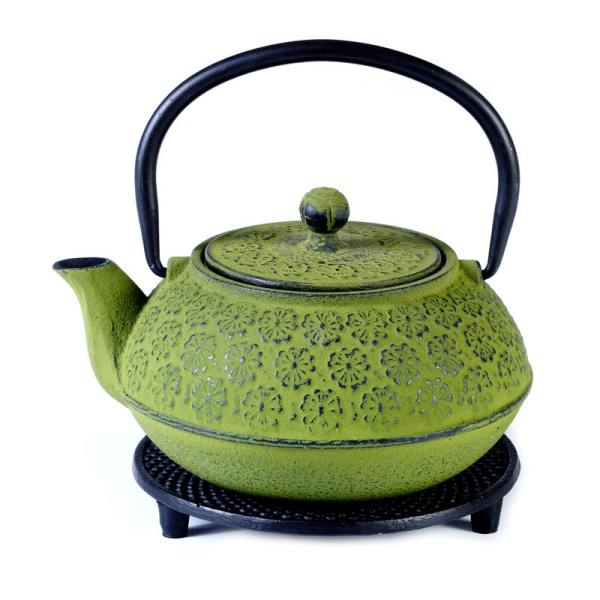 Cast iron pot green on stand 600ml