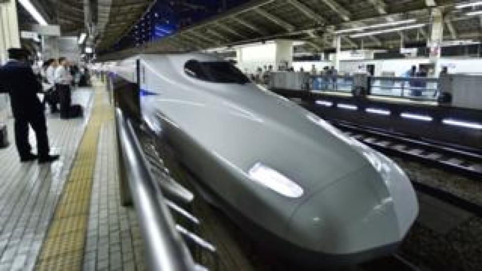 A bullet train in Tokyo, Japan
