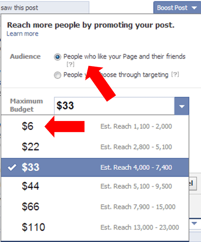 Facebook boost post advertising
