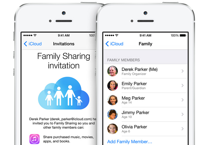 family sharing of ios 8