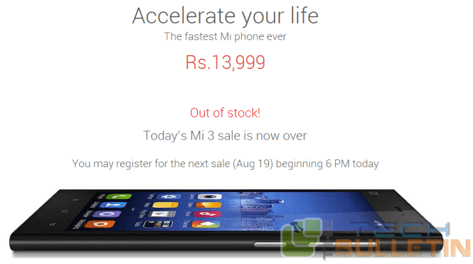 Xiaomi Mi3 sold out of stock