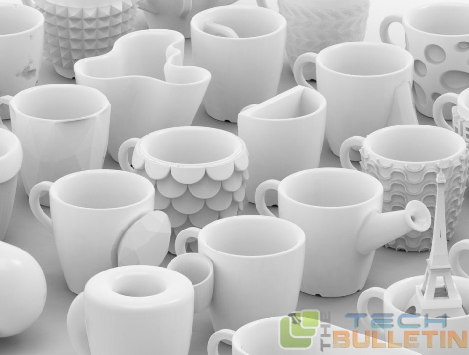 3D printed coffee mugs with glazed ceramic