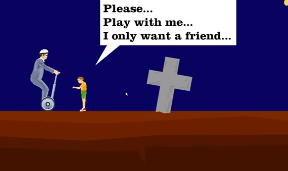 Creepy kid, graveyard....this is not going to end well. Does it ever in Happy Wheels?