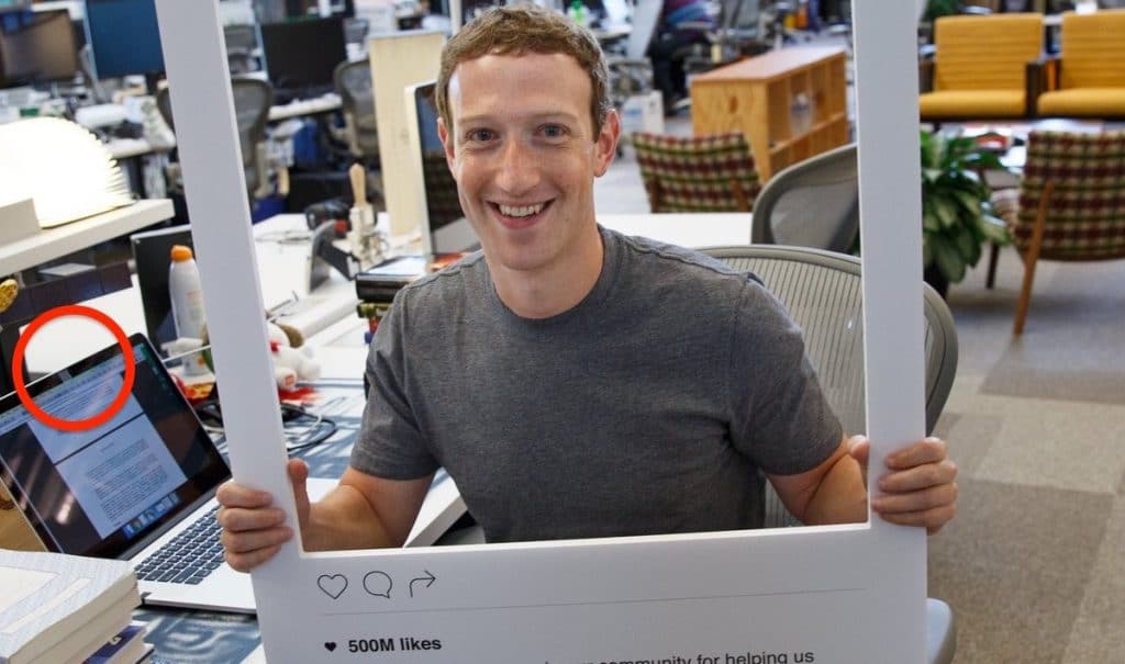 Mark Zuckerberg, with his laptop's camera and mic jack covered in the background. Pic: Instagram