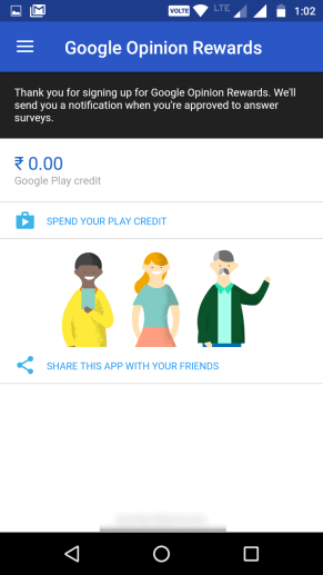 Google opinion Rewards India