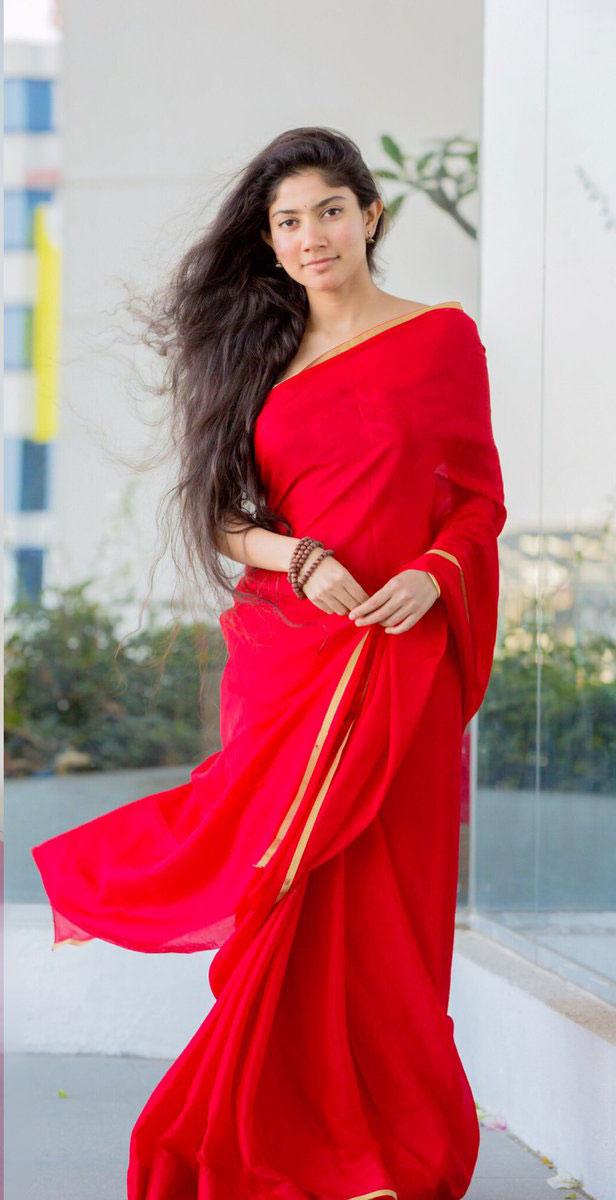 Gorgeous Beauty Sai Pallavi Latest Stills In Red Saree