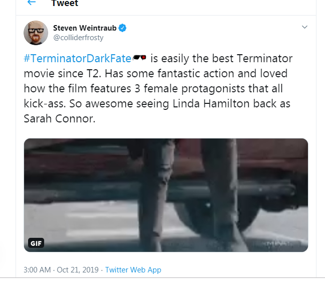 Frosty from Collider hails T:DF as being the best Terminator movie since T2