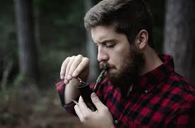 smoking with a pipe