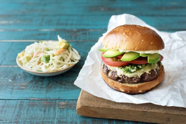 Chimichurri Burgers with Avocados and Monterey jack