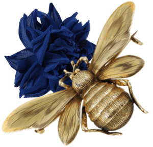 Ericka Cavalini Couture Flower Brooch & Victorian Gold Bee Brooch.