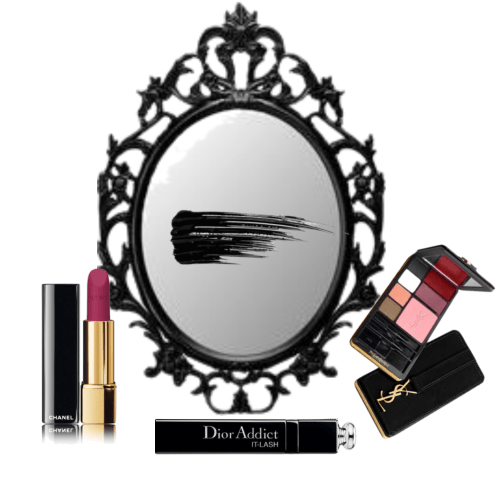 Vanity mirror with makeup