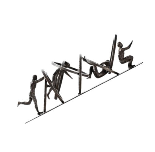 Global Views Jumping Through Hoops 19' Iron Sculpture