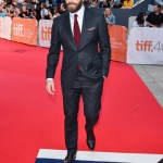 Jake Gyllenhaal on the Hudson's Bay striped carpet at the 'Demolition' premiere at Roy Thompson Hall during the Toronto International Film Festival on September 10, 2015. Photo credit: George Pimentel