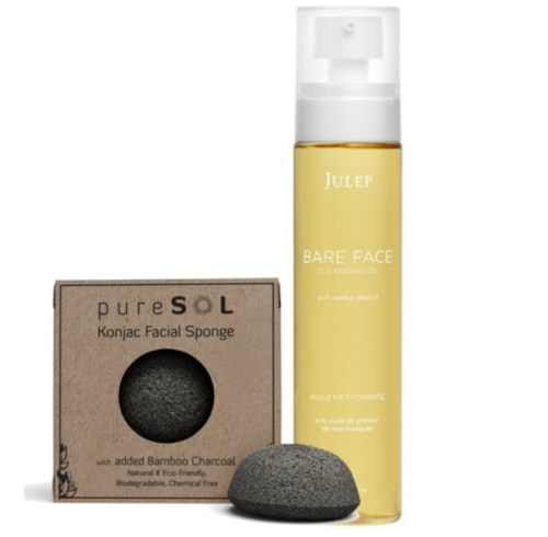 konjac sponge and julep bare face cleansing oil
