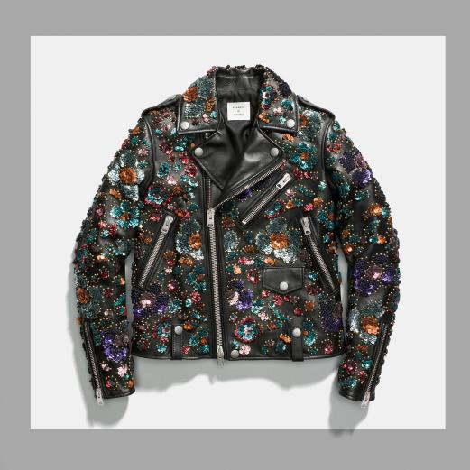 Coach and Rodarte Moto Leather Jacket with Sequin