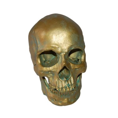 1:1 Human Skull Resin Model Anatomical Medical Skeleton Halloween Decor Antique Bronze