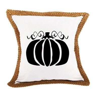 Pumpkin, Happy Halloween Sofa Bed Home Decor Canvas Jute Pillow Cover White
