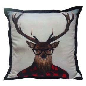 Embroidered & Appliqued Hipster Stag Pillow