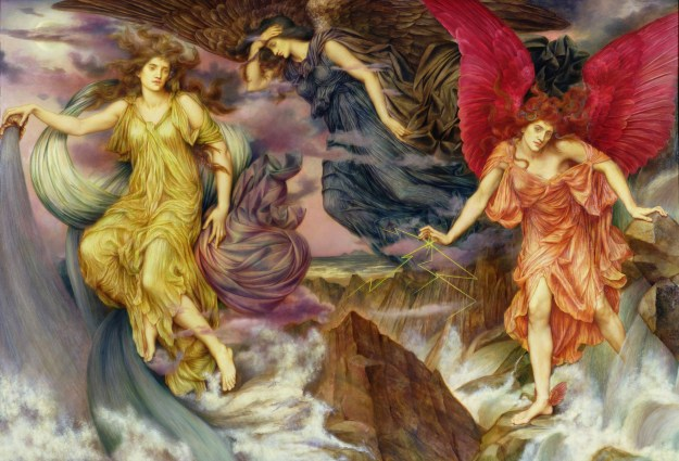 WDM27980 The Storm Spirits, 1900; by Morgan, Evelyn De (1855-1919); oil on canvas; 117.5x172. cm; © The De Morgan Centre, London; English, out of copyright