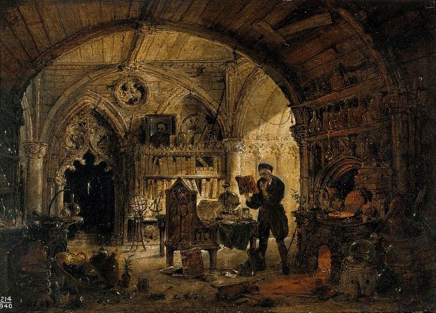 An alchemist in his laboratory by James Nasmyth.