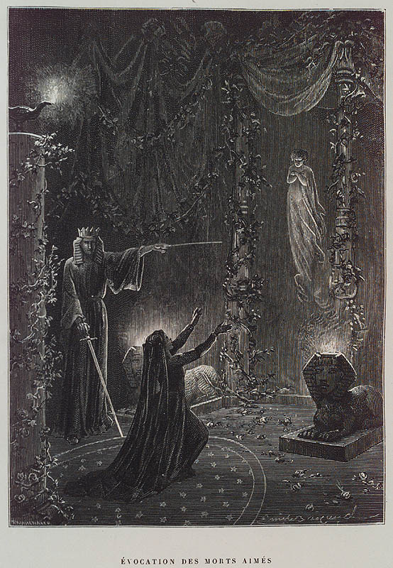 Évocation des Morts Aimés (Summoning of the Beloved Dead) by Paul Christian in Histoire de la magie (History of Magic).