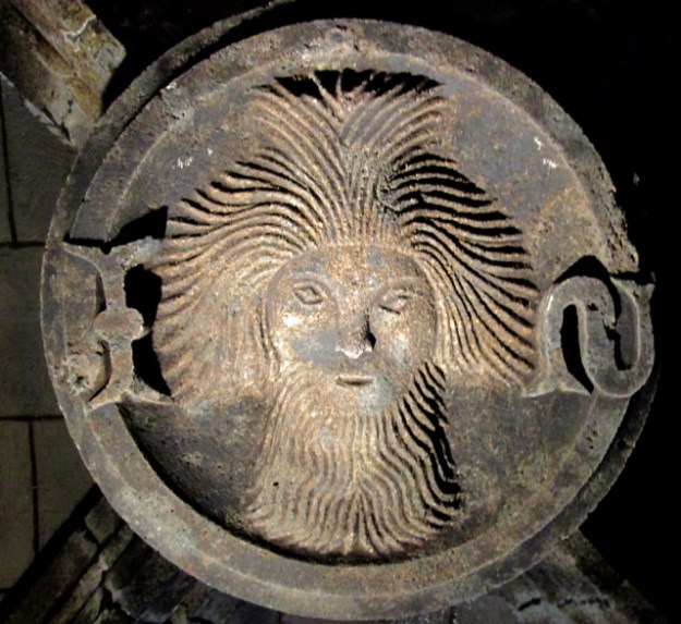 Keystone of John the Baptist inside the house. Photo by The Thinker's Garden.