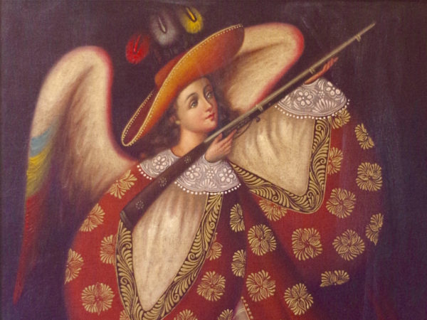 Twentieth-century angel musketeer painting acquired by Campion Hall, Oxford University.