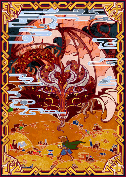 Illustration for The Hobbit by J.R.R. Tolkien. Image Jian Guo.