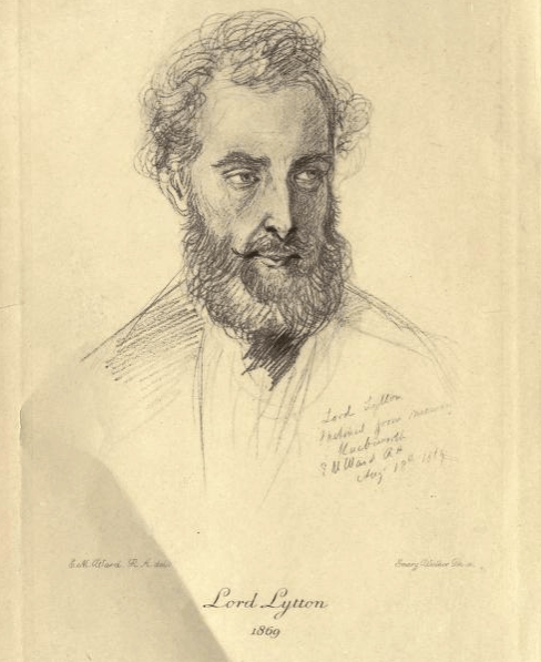 Sketch of Lord Edward Bulwer-Lytton. Image via Internet Archive.