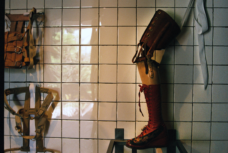 Frida's right leg prosthesis with red boot in Chinese style, 1953.