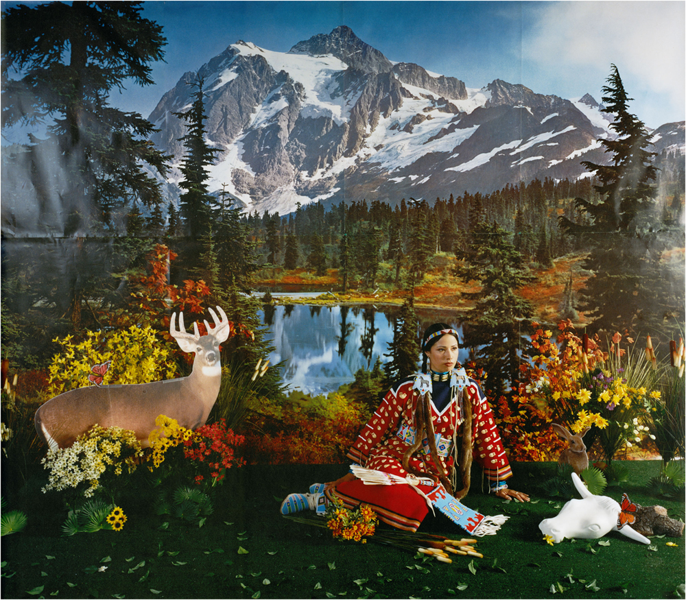 Four Seasons Series, 2006 by Wendy Red Star (1981-), Crow, Billings, Montana. Archival pigment print on Museo silver rag on dibond 35.5 x 37 in. each panel. Collection Nerman Museum of Contemporary Art, Johnson County Community College, Overland Park, Kansas.
