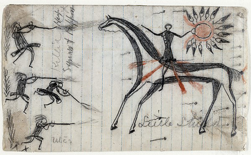 Texan Killed and Utes / Killed Heap Squaws and Papoos, before 1868 by Little Shield (unknown dates), Arapaho, Colorado. Paper, graphite, ink (two of 23 drawnigs originally contained within a bound book) (8.3 x 14 cm) St. Louis (Missouri), University of Missouri-St. Louis, The St. Louis Mercantile Library, gift of William H. Rennick, 1890.
